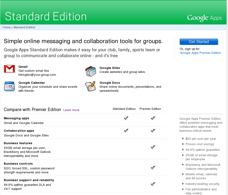 Google Apps Standard Edition Welcomo Screen