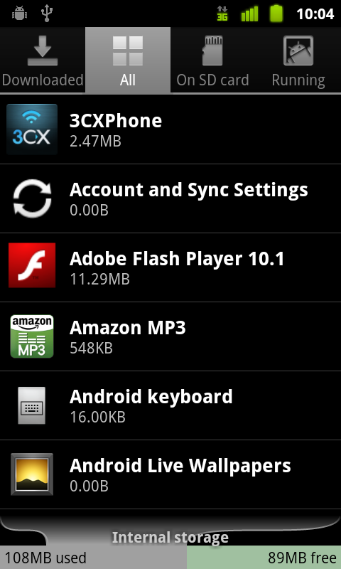 Android 2.3.3 Applications Manager